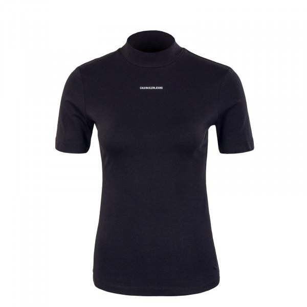 Damen T-Shirt - Micro Branding Stretch Mock Neck - Black