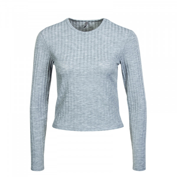 Damen Crop Longsleeve Valeria Neck Top Light Grey