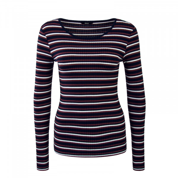 Damen Longsleeve Isi Stripe Brown Navy White