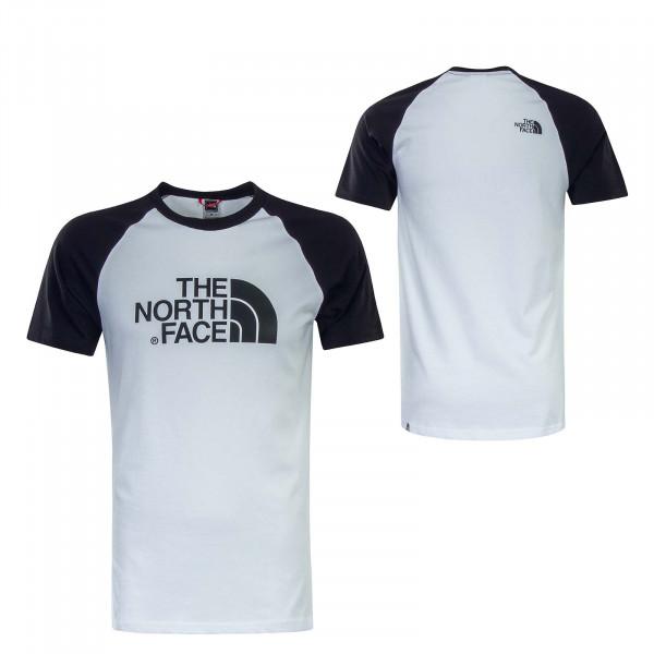 Herren T-Shirt Raglan Easy White Black