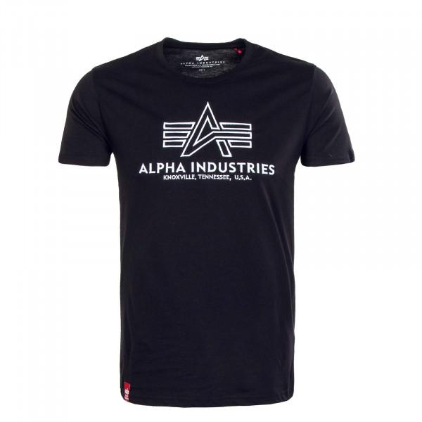 Herren T-Shirt - Basic Embroidery - Black / White
