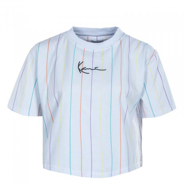 Damen T-Shirt - Small Signature Short Tee Pinstripes - White