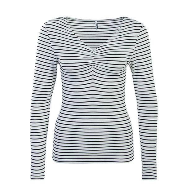 Damen Longsleeve Runa Black Stripes White