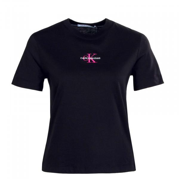Damen T-Shirt - Monogram Logo - Black / Party Pink