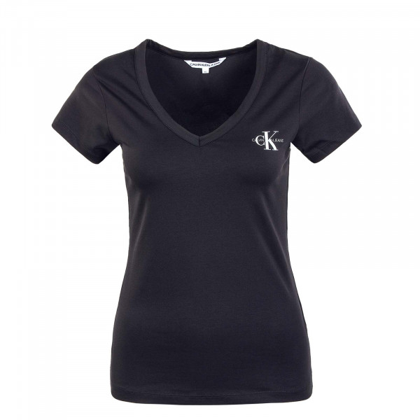 Damen T-Shirt - Monogram Slim V Neck 7166 - Black