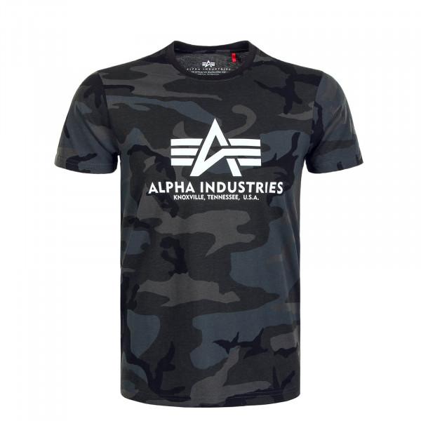 Herren T-Shirt Basic Camouflage Anthrazit Black