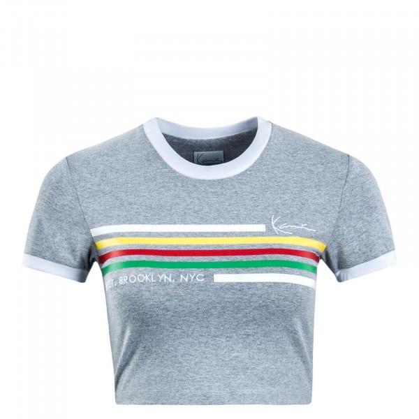 Damen T-Shirt Crop Signature Grey White