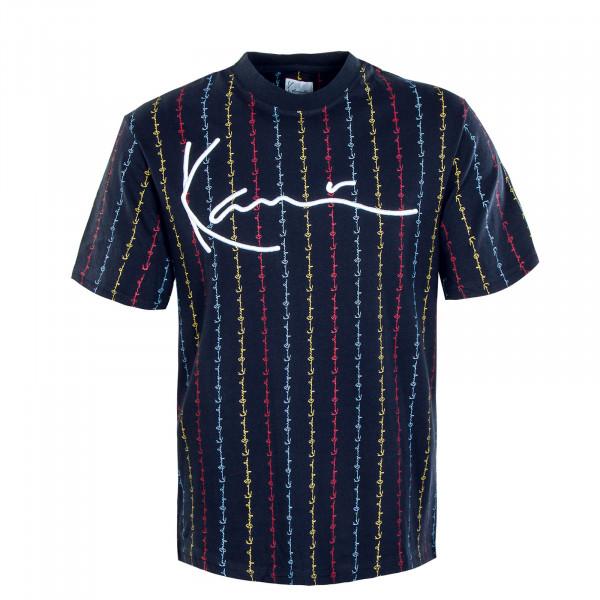 Herren T-Shirt - Signature Logo Pinstripe - Navy / Red