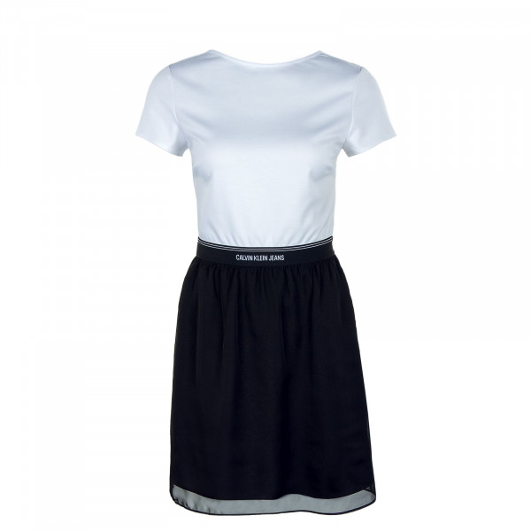 Damen Kleid - Logo Waistband Dress - Bright White / Black