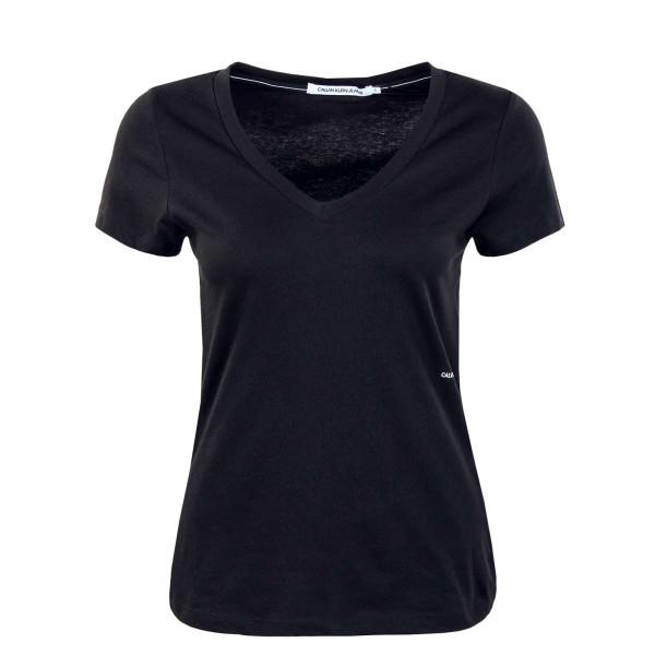 Damen T-Shirt - Micro Branding Off Placed V-Neck - Black