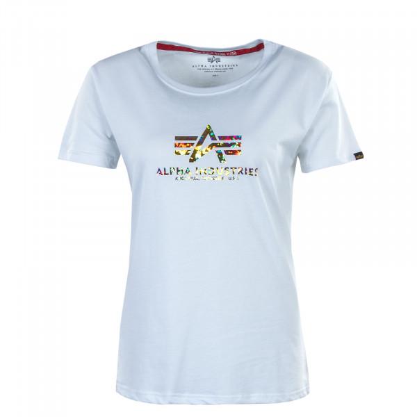 Damen T-Shirt - New Basic Holografic Print - White / Gold / Crystal