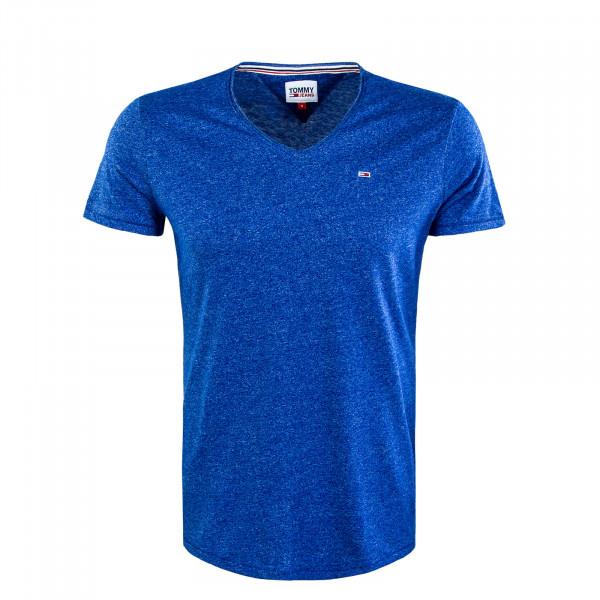 Herren T-Shirt - Slim Jaspe V-Neck - Cobalt
