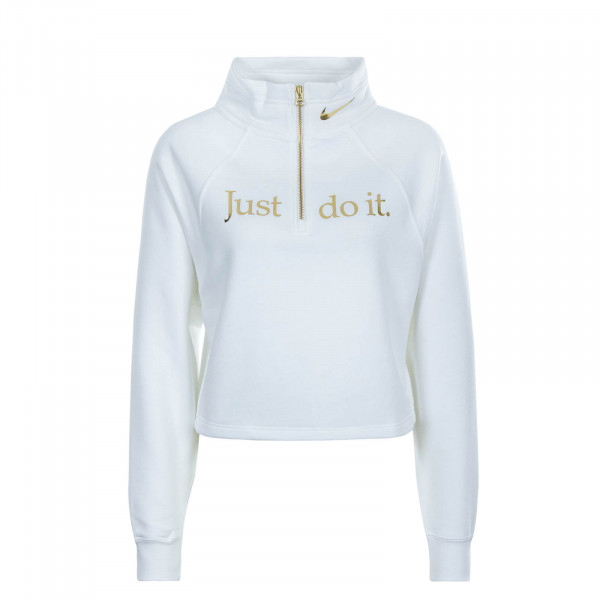 Damen Sweatshirt Funnel Zip White Gold