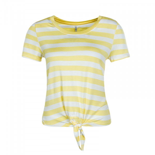 Damen T-Shirt Arli Knot Stripe Beige Yellow