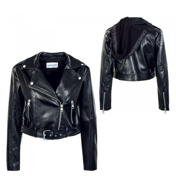 Damen Jacke - Biker Hooded Jacket - Black