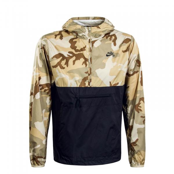 Herren Windbreaker Beige Camouflage Anthrazit