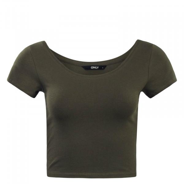Damen T-Shirt  Live Love Cropped Olive