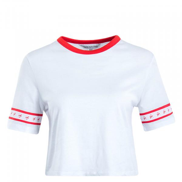 Damen T-Shirt Crop Monogram Tape White Red