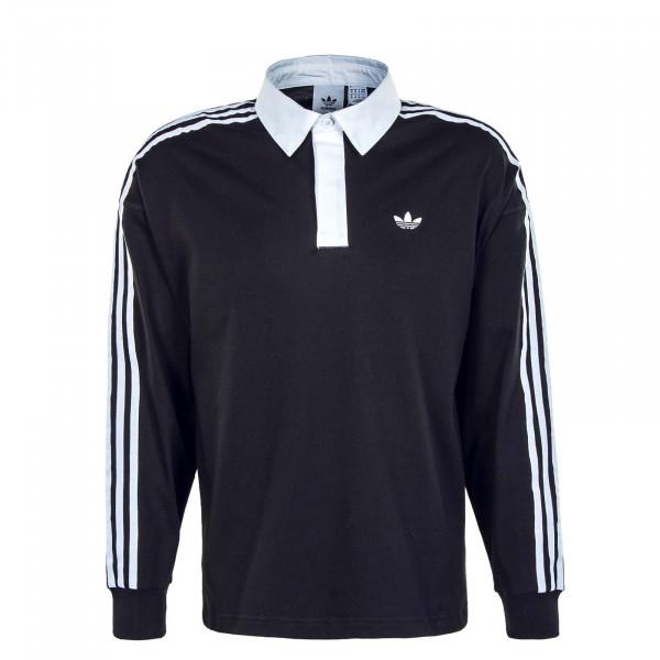 Herren Longsleeve - Solid Rugby - Black / White