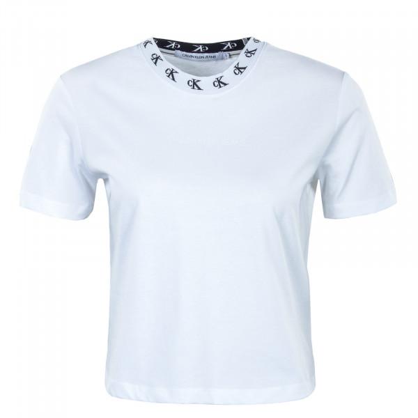 Damen Crop Top CK Logo Trim SS TEE White