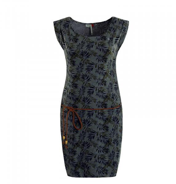 Kleid Tag Leaves Grey Olive Black