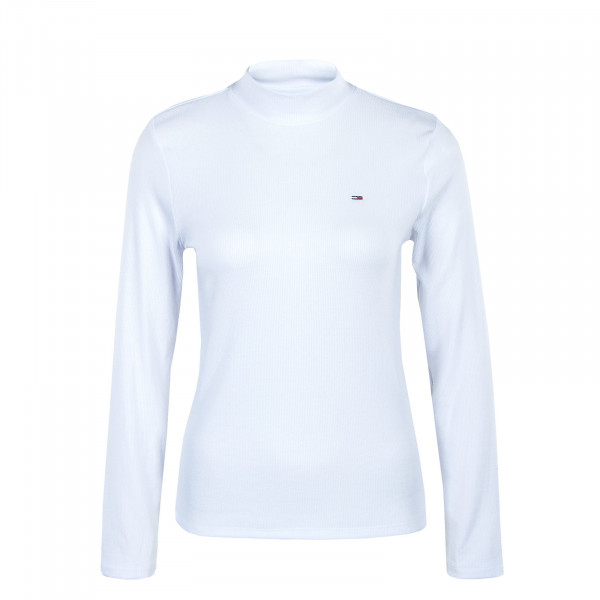 Damen Longsleeve - Rib Mock Neck - White