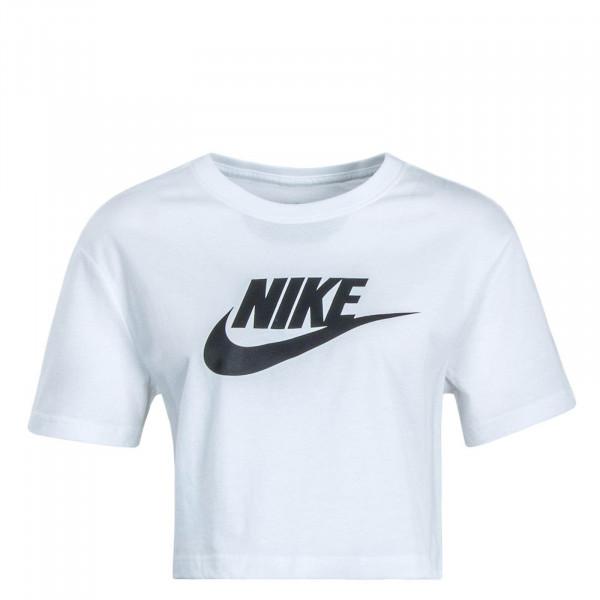 Damen T-Shirt Crop Essential White Black