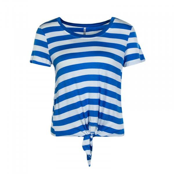Damen T-Shirt Arli Knot Stripe Sky Beige