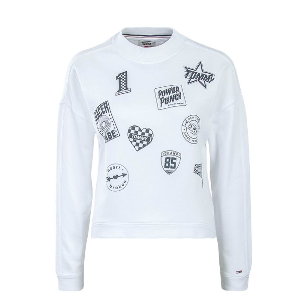 Tommy Wmn Sweat Multi Badge White