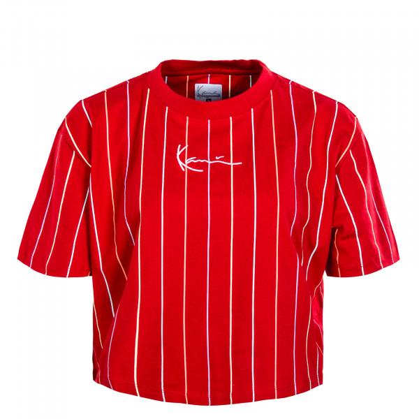 Damen T-Shirt - Small Signature Short Tee Pinstripes - Red