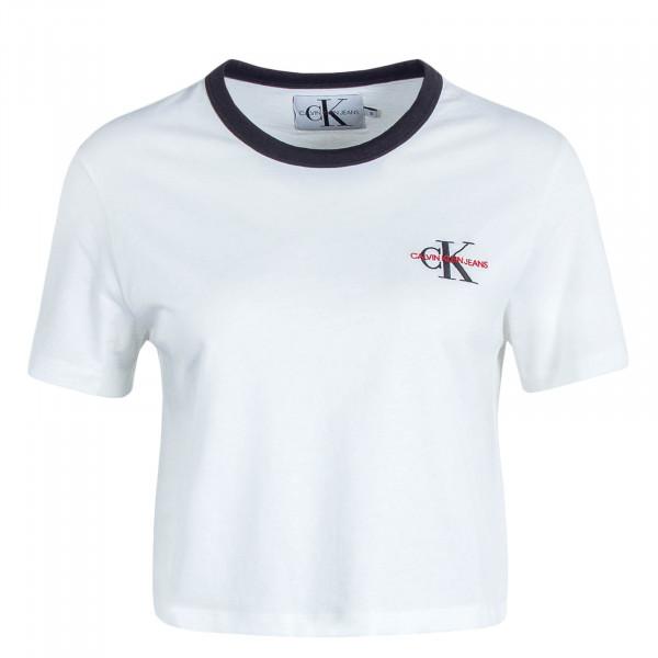Damen T-Shirt Crop Monogram Embroidery White