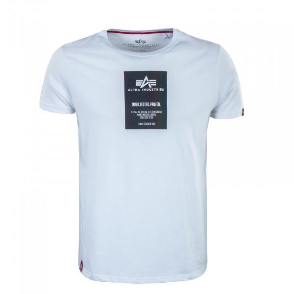 Herren T-Shirt - Rainbow Reflective Label Print - White