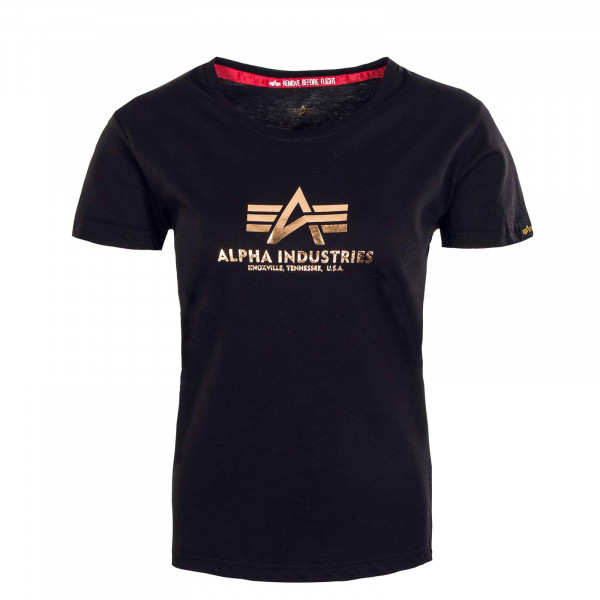 Damen T-Shirt - New Basic Foil Print - Black