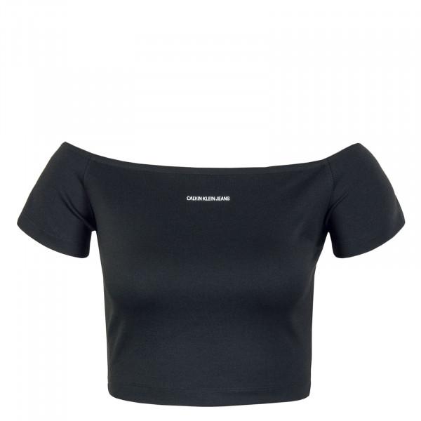 Damen Crop Top - Milano Bardot Top - Black