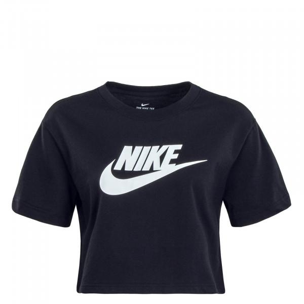 Damen T-Shirt Crop Essential Black White