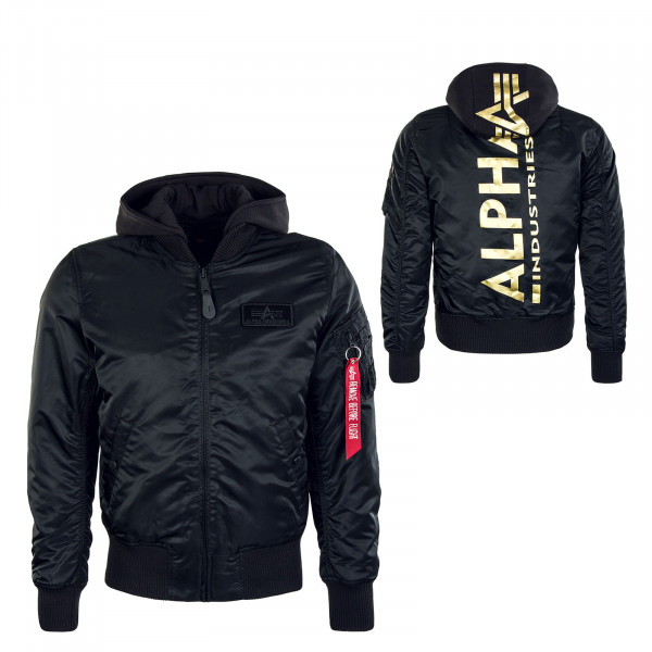 Herren Jacke - MA 1 ZH Back Print - Black / Yellow Gold