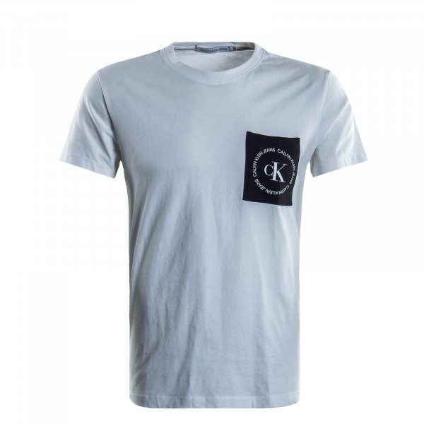 Herren T-Shirt Round Logo Pocket White