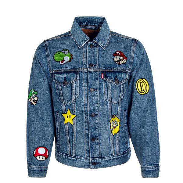 Herren Jeansjacke Vintage Super Mario Gang