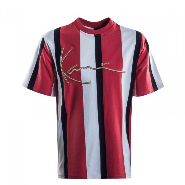 Herren T-Shirt Signature Stripe Red White Black