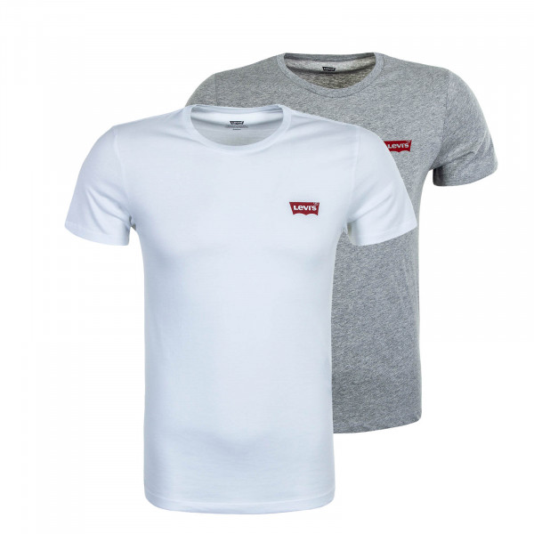 Herren T-Shirt 2er-Pack Crewneck Graphic White Grey
