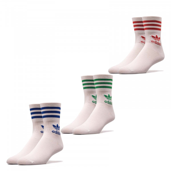 Socken 3er Pack Mid Cut Crew White Scarlet