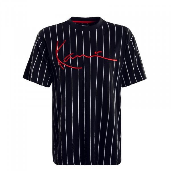 Herren T-Shirt Signature Pinstripe Black White