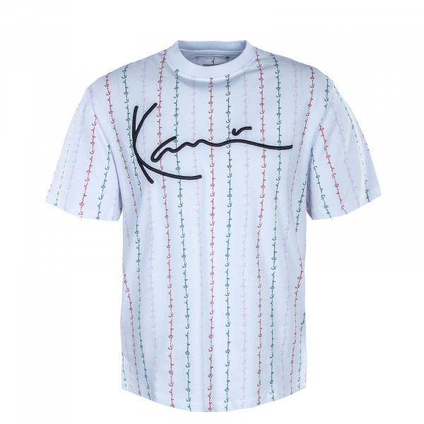Herren T-Shirt - Signature Logo Pinstripe - White / Red