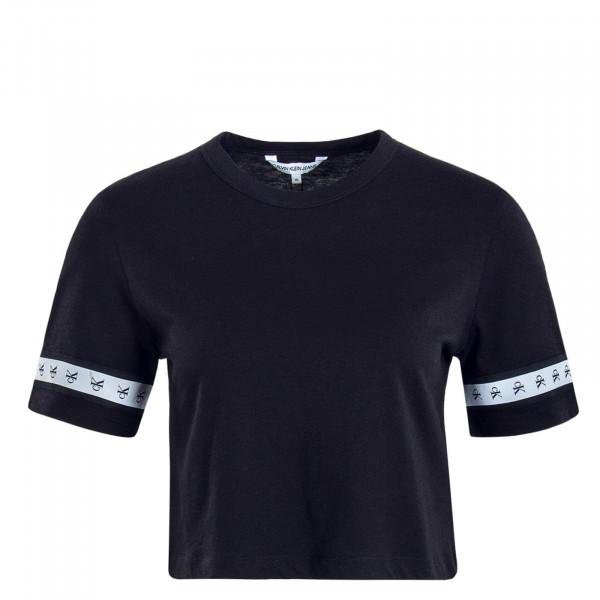 Damen T-Shirt Crop Monogram Tape Black