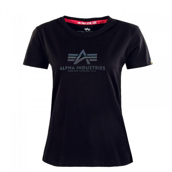 Damen T-Shirt - New Basic Rainbow Reflective Print - Black
