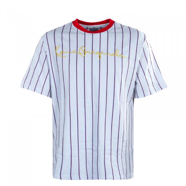 Herren T-Shirt - Originals Pinstripe - White / Red / Light Blue