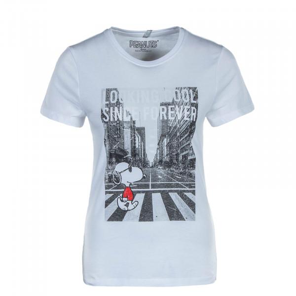 Damen T-Shirt Peanuts Life Reg Top Snoopy White