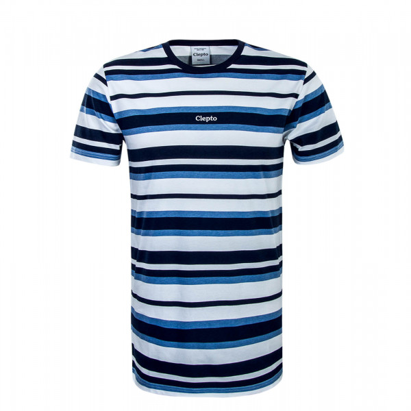 Herren T-Shirt Multi Stripe 3 Navy White Blue