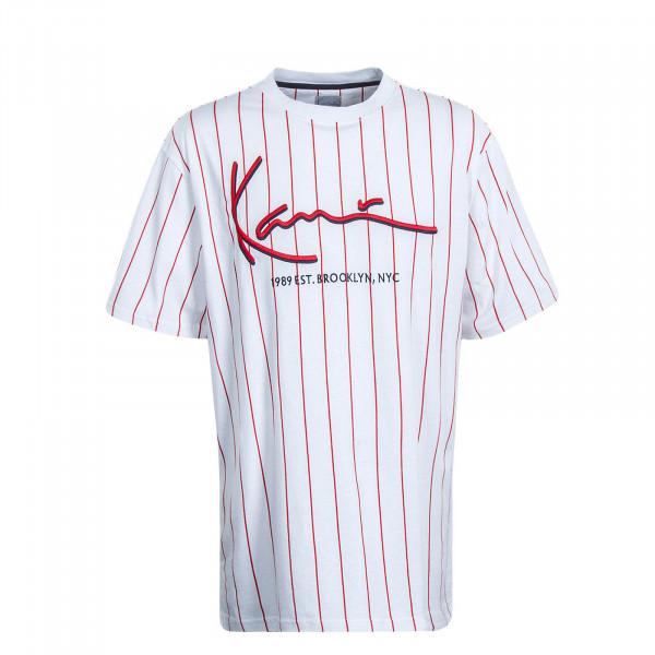 Herren T-Shirt Signature Pinstripe White Red