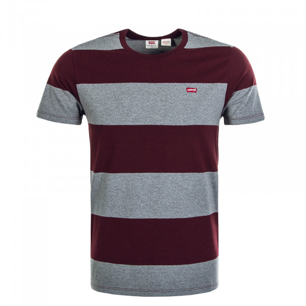 Herren T-Shirt Rugby Stripe Bordeaux Grey